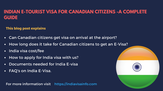 Indian E-Tourist visa for Canadian citizens